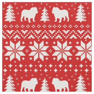 Bulldoggen-Silhouette-Weihnachtsstrickjacke-Muster Stoff