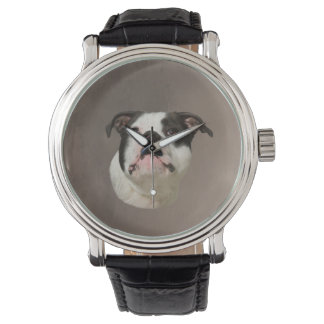Bulldoggen-Wasser-Farbkunst-Malerei Armbanduhr