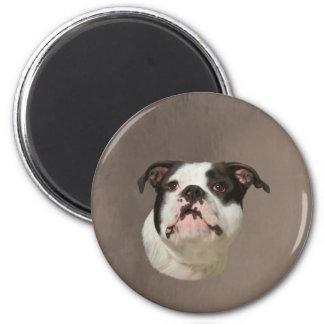 Bulldoggen-Wasser-Farbkunst-Malerei Runder Magnet 5,7 Cm