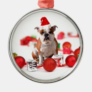 Bulldoggen-WeihnachtsGeschenkboxen verzieren rote Silbernes Ornament