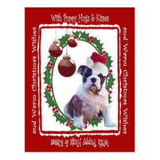 Bulldoggen-Weihnachtswelpe umarmt Postkarte #2