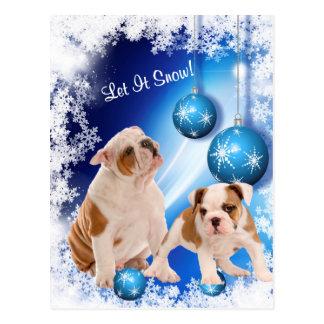 Bulldoggen-Welpe ließ es schneien Feiertags-Gruß Postkarten