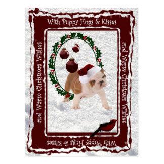 Bulldoggen-Welpe umarmt u. küsst kundengerechte Postkarte