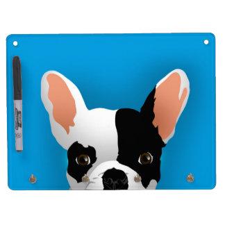 Bulldoggenkunst - französische Bulldogge Trockenlöschtafel Mit Schlüsselanhängern