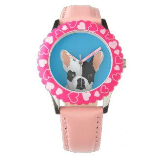Bulldoggenkunst - französische Bulldogge Uhr