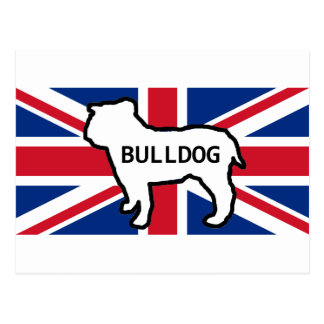 BulldoggennamensSilhouette auf Flaggenweiß Postkarte