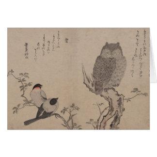 Bullfinch und gehörnte Eule - Kitagawa Utamaro Karte