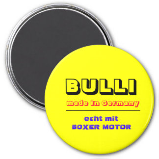 BULLI, made in Germany, echt mit BOXER MOTOR Runder Magnet 7,6 Cm