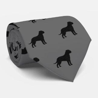 Bullmastiff Silhouette-Muster Personalisierte Krawatte