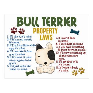 Bullterrier-Eigentums-Gesetze 4 Postkarte