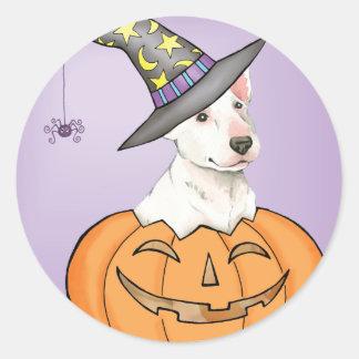 Bullterrier Halloween Runder Aufkleber