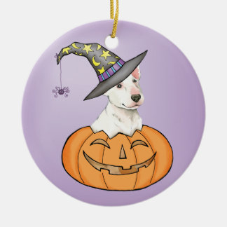 Bullterrier Halloween Rundes Keramik Ornament