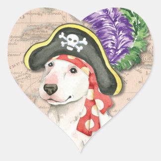 Bullterrier-Pirat Herz-Aufkleber