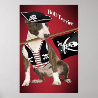 Bullterrier-Piraten-Plakat Poster