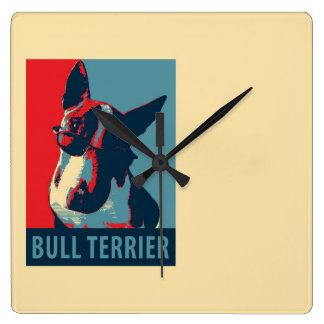 Bullterrier-politische Parodie Quadratische Wanduhr