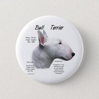Bullterrier-(weißer) Geschichtsentwurf Runder Button 5,7 Cm
