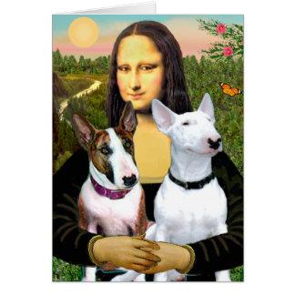Bullterrier (zwei) - Mona Lisa Karte