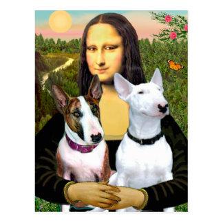 Bullterrier (zwei) - Mona Lisa Postkarte