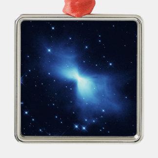 Bumerang-Nebelfleck Quadratisches Silberfarbenes Ornament