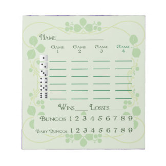 Bunco Kerbe-Auflage-März-Grün-Blumenkunst Nouveau Notizblock