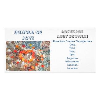Bündel Freude-Baby-Duschen-Einladungs-Herz-Blätter Photokarte