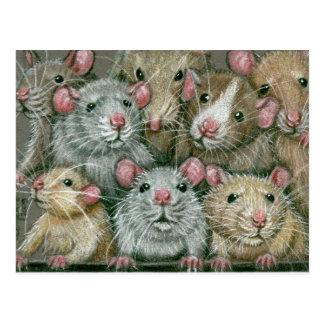 Bündel Ratten an der Rattie Wiedersehen-Postkarte Postkarte