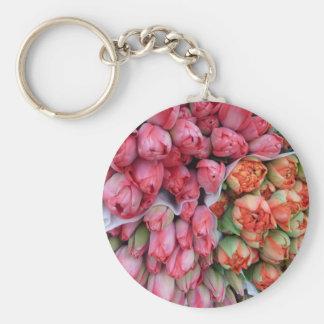 Bündel Tulpen am Markt in Frankreichschlüsselkette Schlüsselband
