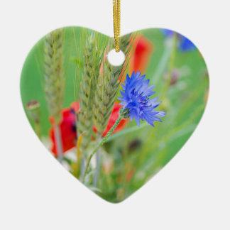 Bündel von rote Mohnblumen, Cornflowers und Ohren Keramik Herz-Ornament