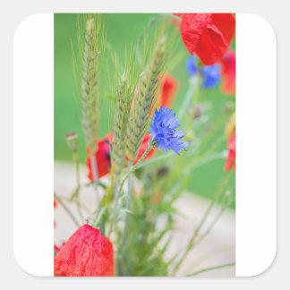 Bündel von rote Mohnblumen, Cornflowers und Ohren Quadratischer Aufkleber