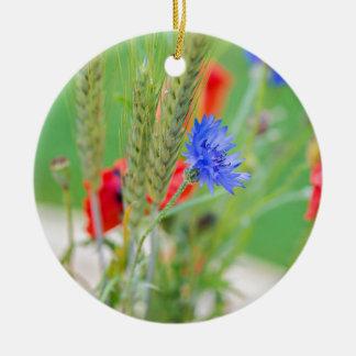 Bündel von rote Mohnblumen, Cornflowers und Ohren Rundes Keramik Ornament