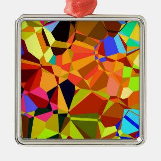 Bunt Quadratisches Silberfarbenes Ornament
