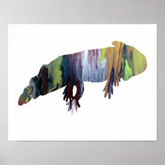 Bunte abstrakte Axolotl-Silhouette Poster