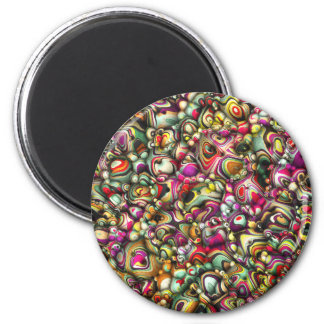Bunte abstrakte Formen 3D Runder Magnet 5,1 Cm