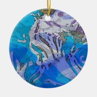 Bunte abstrakte Kunst-Verzierung in den Blues Rundes Keramik Ornament