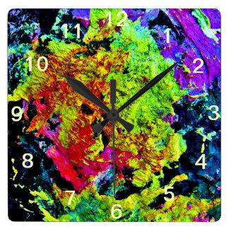 Bunte abstrakte Malerei-Quadrat-Wand-Uhr Wanduhr
