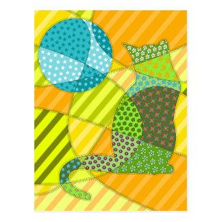 Bunte abstrakte Patchwork-Katze Postkarte