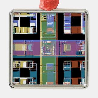 Bunte abstrakte Stadtwohnungen Quadratisches Silberfarbenes Ornament