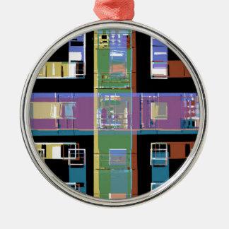 Bunte abstrakte Stadtwohnungen Rundes Silberfarbenes Ornament