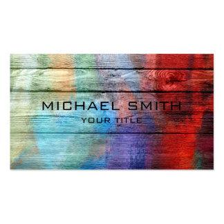 Bunte Acrylmalerei auf Holz Visitenkartenvorlage