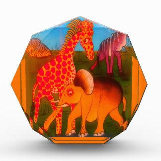 Bunte afrikanische Safarifarben des wilden Tieres Acryl Auszeichnung