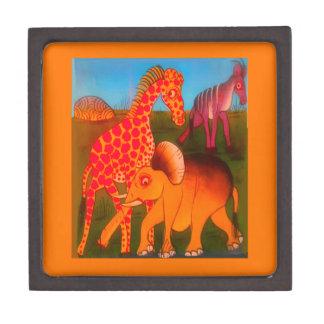 Bunte afrikanische Safarifarben des wilden Tieres Kiste