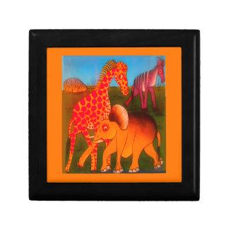 Bunte afrikanische Safarifarben des wilden Tieres Schmuckschachtel
