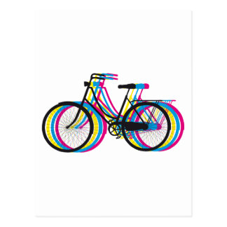 Bunte alte Fahrrad-Silhouette, T - Shirtentwurf Postkarte