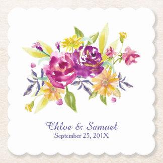 Bunte Aquarell-Blumenstrauß-Hochzeit Untersetzer