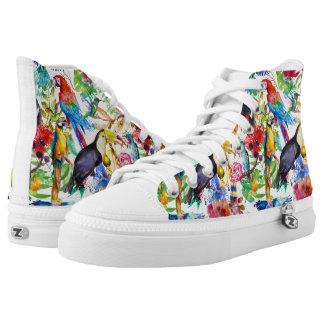 Bunte Aquarell-Papageien Hoch-geschnittene Sneaker