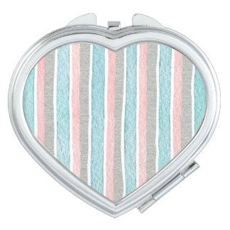 Bunte Aquarell-Streifen Taschenspiegel