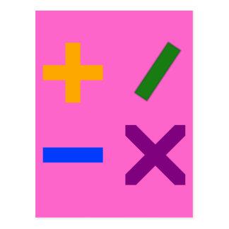 Bunte arithmetische Symbole Postkarte