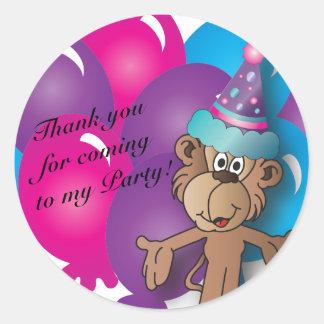 Bunte Ballone u. Affe alles- Gute zum Geburtstag| Runder Aufkleber