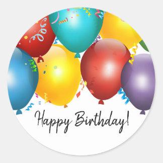 Bunte Ballone u. Confetti-Geburtstags-Gastgeschenk Runder Aufkleber
