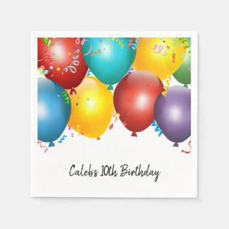 Bunte Ballone u. Confetti-Geburtstags-Party Papierserviette